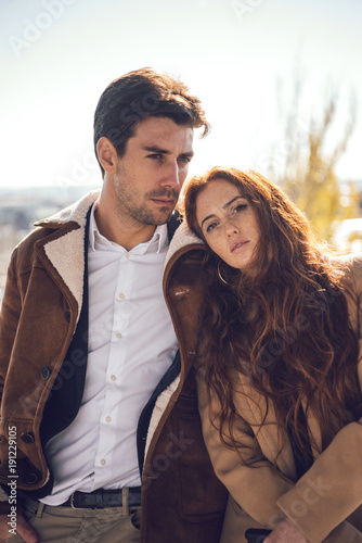 Fotografering  Gentle elegant couple in sunlight