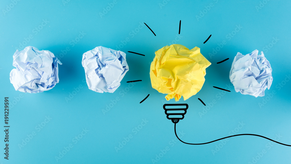 Fototapety, obrazy: Creative idea, Inspiration, New idea and Innovation concept with Crumpled Paper light bulb on blue background.