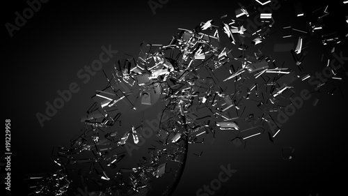 Fototapety czarne - bardzo ciemne beautiful-fragments-of-glass-splinters-black-background-3d-illustration-3d-rendering