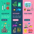 Aquarium Banner Vecrtical Set. Vector