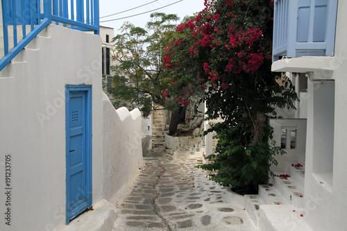 Papiers peints Scandinavie Quiet street with flowers in Mykonos, Greece