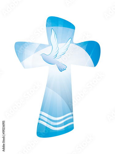 Papel de parede Baptism christian cross - waves of water and dove