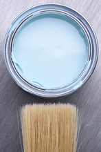 Top View Of Mint Paint Can Wit...