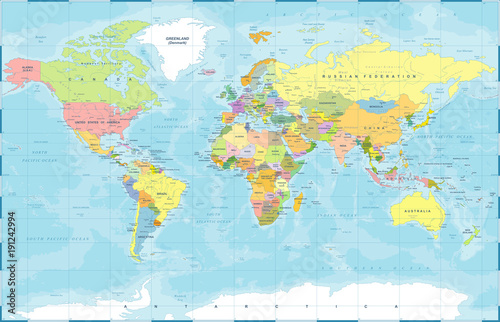 Political Colored World Map Vector Fototapet