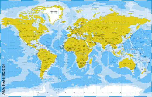 Fototapeta Political Physical Topographic Colored World Map Vector