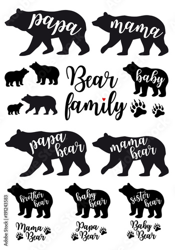 Mama bear, papa bear, baby bear, vector set Canvas Print