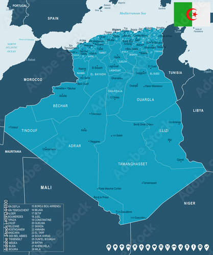 Algeria - map and flag - Detailed Vector Illustration - Buy ...