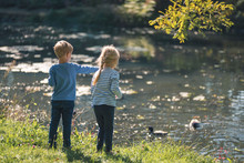Little Girl And Boy Feed Ducks In The Pond
