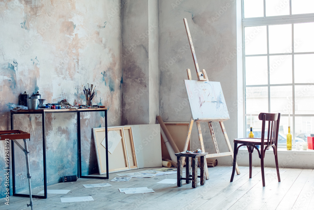 Fototapeta Creative artist workplace room no people hobby