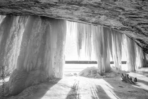 Grand Island Ice Curtain and Cave in Michigan's Upper Peninsula