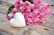 canvas print picture - Grußkarte - Blumenstrauß - rosa Rosenstrauß mit Herz