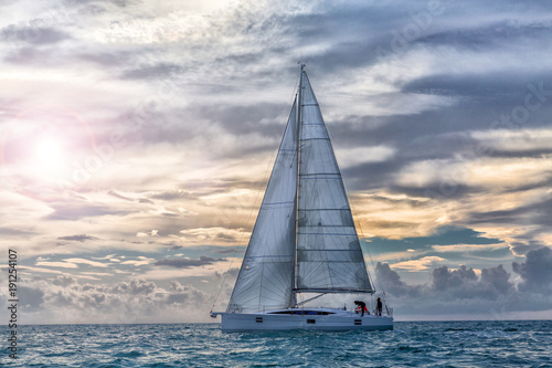 Slika na platnu sailboat at sunset in navigation, sail boat