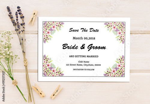 save the date card layout with floral corners 1 buy this stock