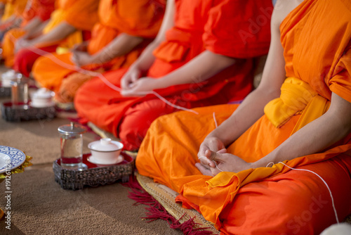 Obraz na plátně Close up of Thai monk in wedding ceremony