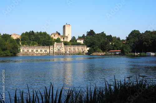 Landscape on river Adda, Trezzo, Lombardy, Italy. Wallpaper Mural