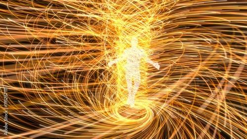 Fotografía  artificial intelligence figure in the center of yellow energy vortex
