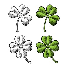 Good Luck Four And Three Leaf ...