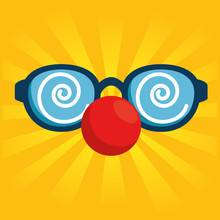 Red Nose Day Fool Clown Glasse...