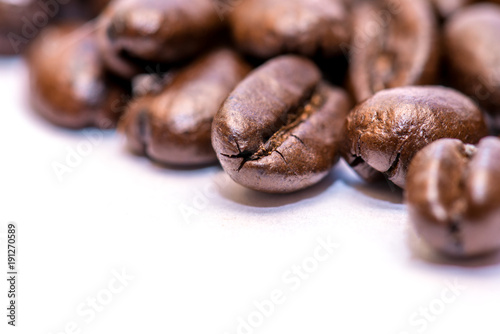 Fotografie, Obraz  Coffee beans closeup on white background
