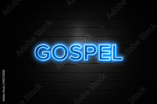 Obraz na plátně Gospel neon Sign on brickwall
