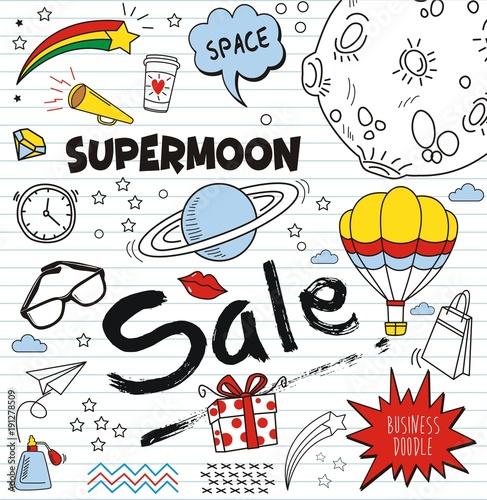 Printed kitchen splashbacks Set of colorful doodle on paper background.Doodles sale elements