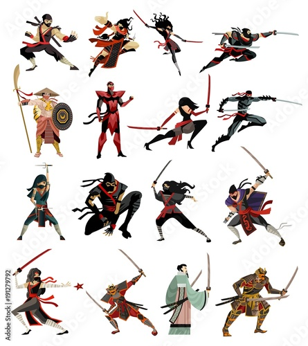 ninja and samurai collection characters Canvas Print