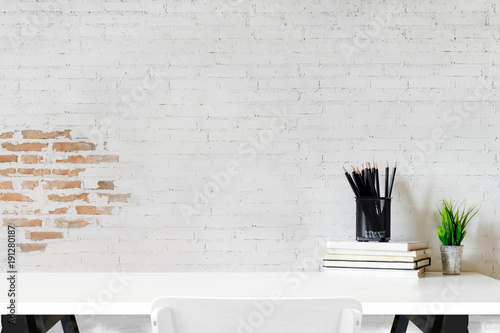 Obraz Workspace mockup and office accessories with copy space - fototapety do salonu