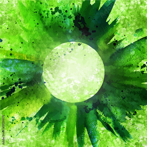 Vector abstract green background texture with brush strokes © laplateresca