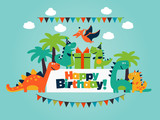 Fototapeta Dinusie - Happy birthday - lovely vector card with funny dinosaurs