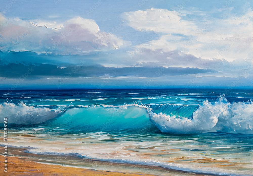 Fototapeta Oil  painting of the sea on canvas.