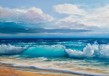 Oil  Painting Of The Sea On Ca...