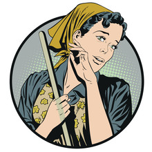 Woman From Cleaning Service. Stock Illustration.