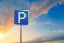 Parking Sign Close-up On Sky B...