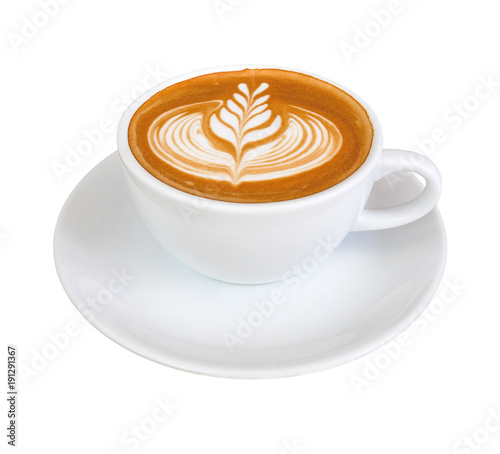 Hot coffee latte with beautiful milk foam latte art texture isolated on white background, clipping path included.