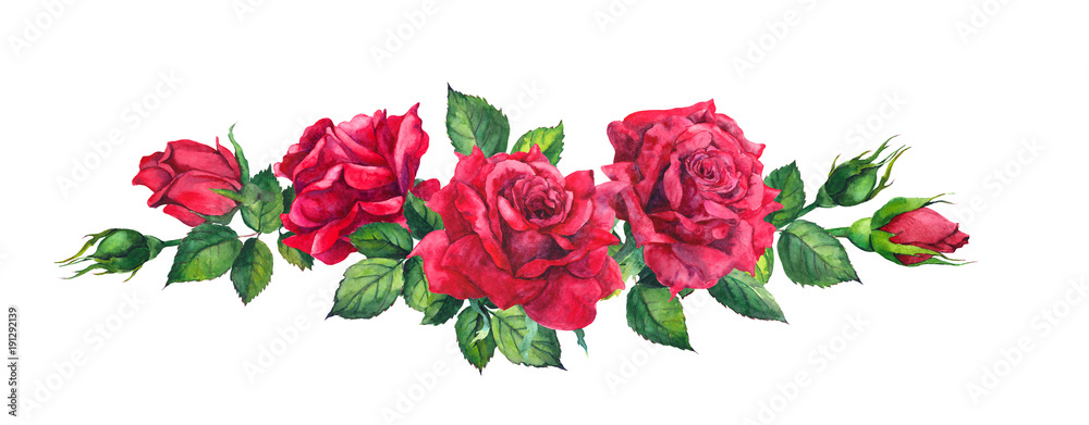 Fototapety, obrazy: Red roses bouquet. Isolated watercolor illustration