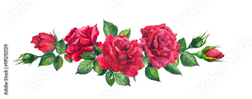 Fototapeta Red roses bouquet. Isolated watercolor illustration obraz