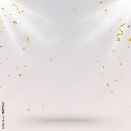 Obraz Celebration Background with gold confetti and light - fototapety do salonu