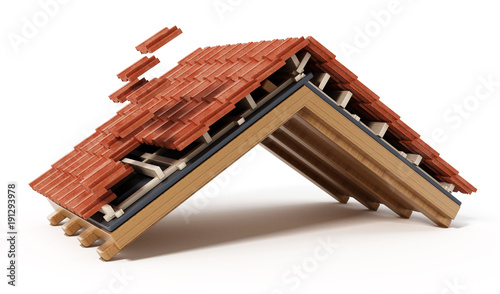 Fototapeta Roof construction detail isolated on white background. 3D illustration obraz