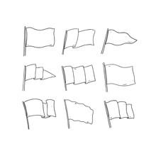 Hand Drawn Vector Illustration Of Flag On White Background. Blank White Flag .Flag Outline Clip Art.