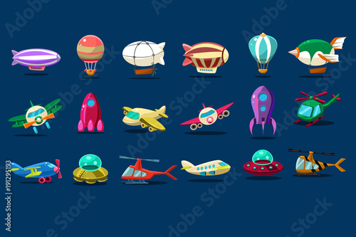 Photo  Cartoon set of different types of aircrafts