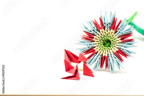 Modular Origami Flower With Blocks Isolated On White Background