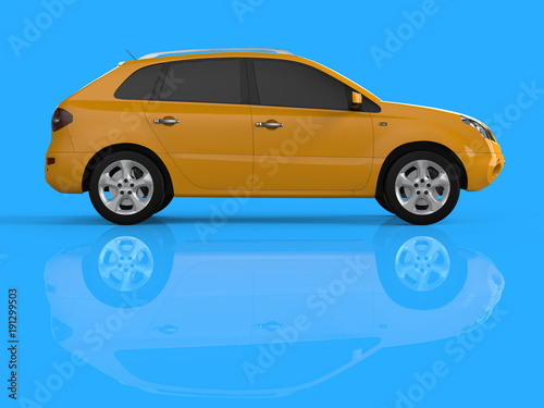Carta da parati  Compact city crossover yellow color on a blue background