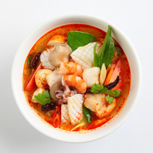 Tom Yum Goong Spicy Soup On White Background, Thai Food