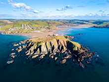 An Aerial View Of Bigbury On Sea In Devon, UK
