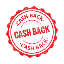 Cash Back Grunge Retro Red Isolated Stamp On White Background