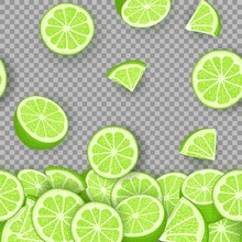 Vector Illustration Of Falling Lime Fruit. Green Lemon Vector Pattern Citrus Fruits Whole And Slice For Design Of Food Packaging Breakfast, Detox, Cosmetics Cream, Jam, Juice
