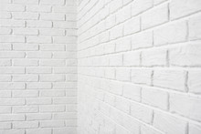 White Brick Wall Corner, Abstract Background Photo