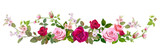 Fototapeta Kwiaty - Panoramic view: bouquet of roses, spring blossom. Horizontal border: red, mauve, pink flowers, buds, green leaves on white background. Digital draw illustration in watercolor style, vintage, vector