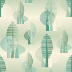 Fototapeta stylized forest seamless pattern in soft green shades