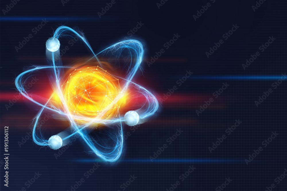Fototapeta Atomic structure. Futuristic concept on the topic of nanotechnology in science. The nucleus of an atom surrounded by electrons on a technological background
